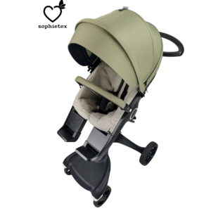 Khaki Green Style Kit with visor or faux fur trim for Stokke Xplory V1 and Stokke Xplory V2 Pram. Make your dream pushchair with our cover set.