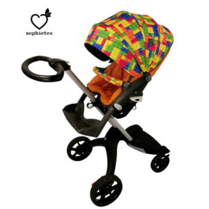 Colorful (blue, orange, yellow, green, red ) Lego patterned Play Summer Style Kit for Stokke Xplory V1-V2 Pushchair. Choose shopping bag, mini bag, handmuff and split leg foot muff too in this amazing color. Your Baby boy will love this happy, unique cover set.