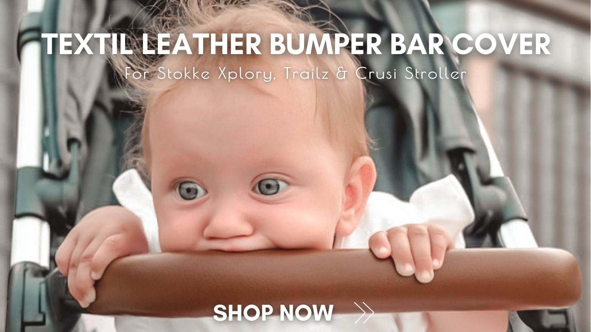 Amazing textil leather bumper bar cover for Stokke Xplory, Trailz and Crusi Strollers.